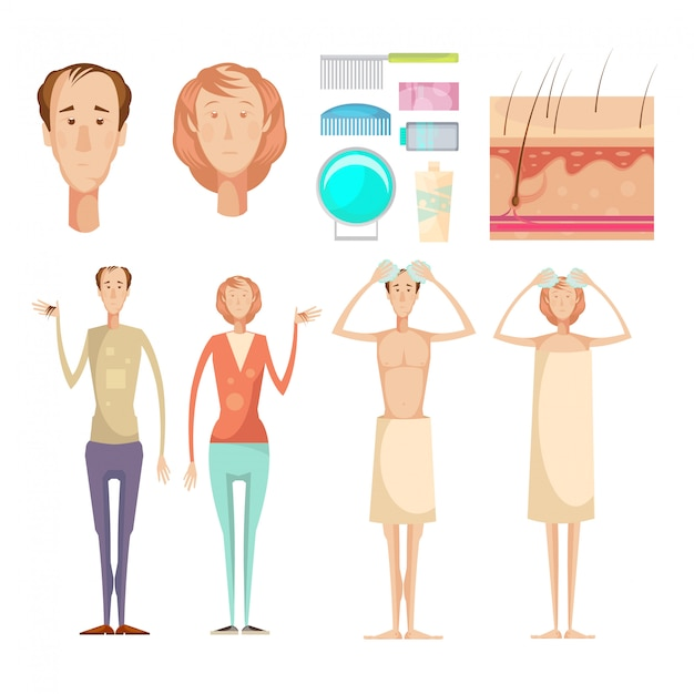 Hair loss problem isolated infographic elements set Free Vector