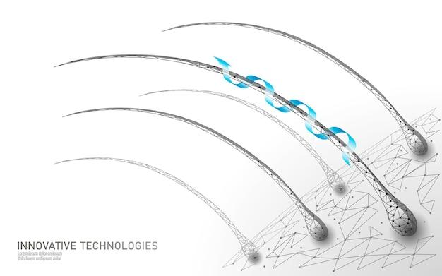 머리 보호 관리 화장품 기술 3d 개념. 모낭 프리미엄 벡터