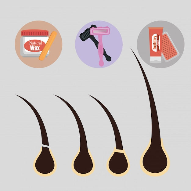 Hair removal product set Free Vector