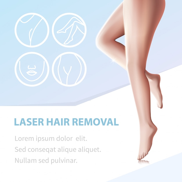 Hair removal smooth legs epilated with laser tool Premium Vector
