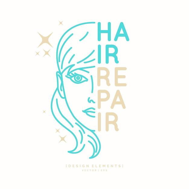 모발 수리. 이발소의 밝은 포스터. 머리카락을 자르고 스타일링하는 요소. 삽화. 프리미엄 벡터