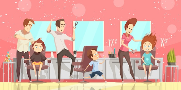Free Vector Hair Salon Background With Ckids Hairdo And Hairdresser Flat Isolated