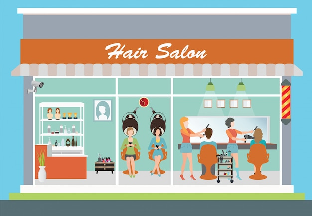 Hair salon building and interior. Premium Vector
