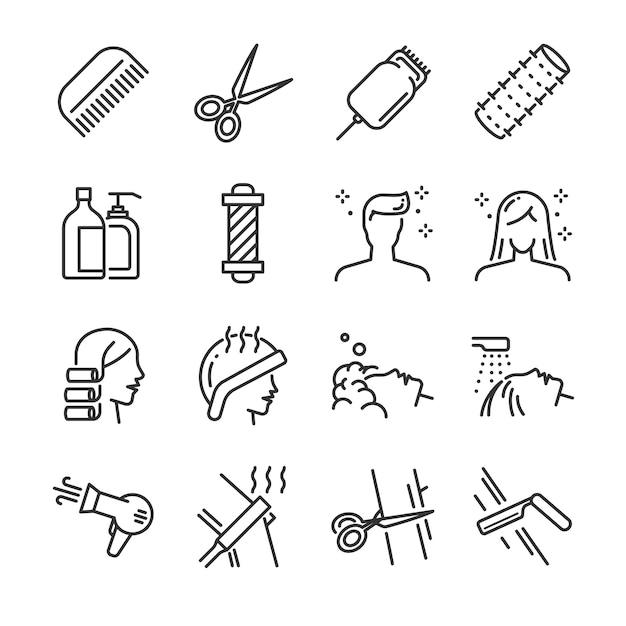 Набор иконок для парикмахерских. Premium векторы