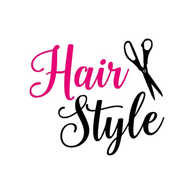 Hair style lettering with scissors Premium Vector