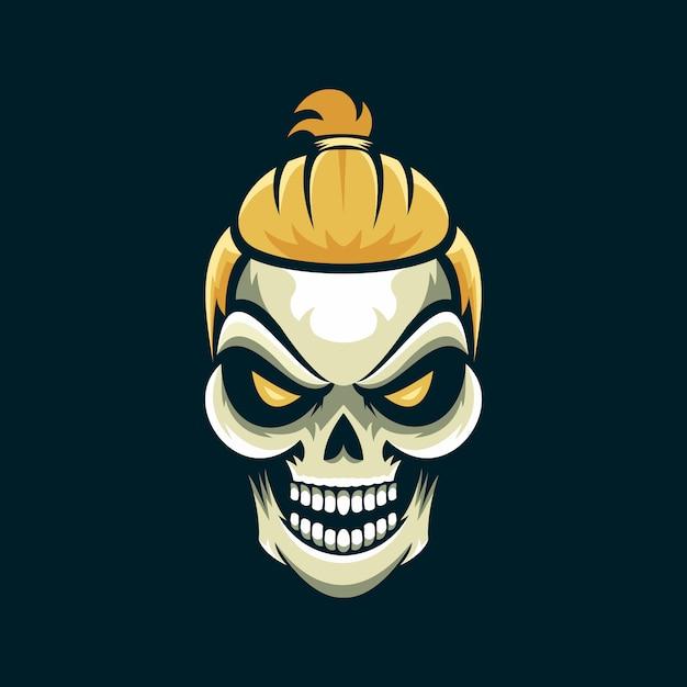 Hair style skull logo Premium Vector