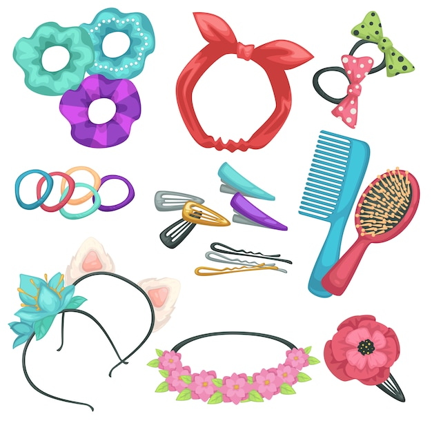 Hair tyling accessories, headbands and combs with hairpins Premium Vector