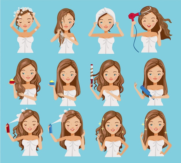 Haircare of women set. Premium Vector