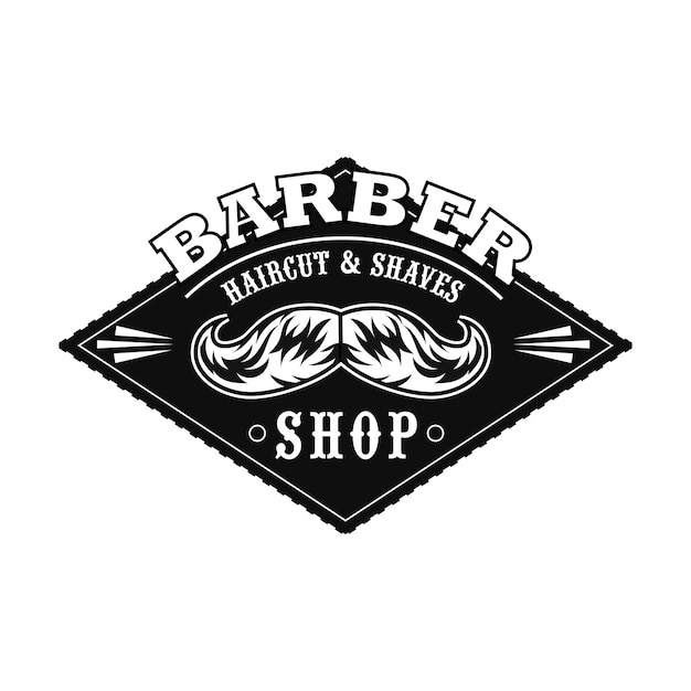 Haircut salon logo with monochrome moustaches, text sample Free Vector