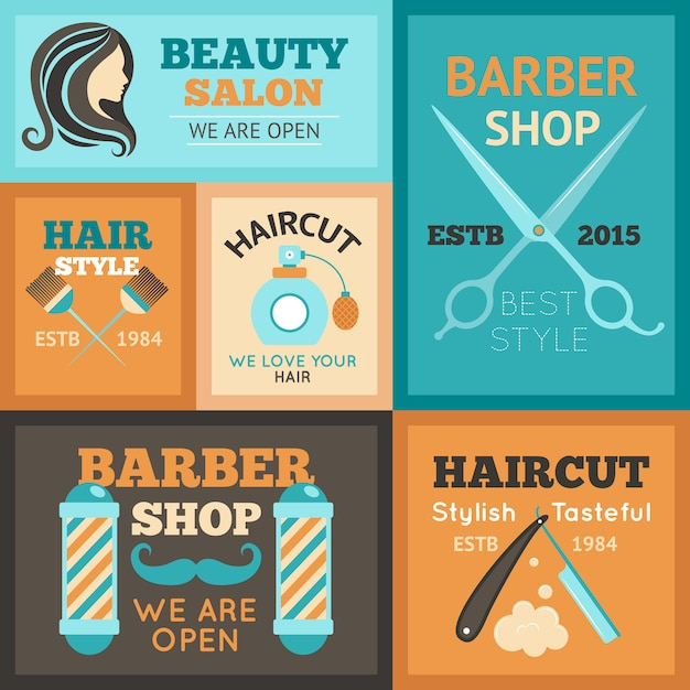 Hairdress poster set Free Vector
