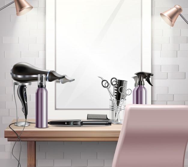 リアルな鏡を使ったヘアスタイルとヘアカットの構成のための美容ツール 無料ベクター