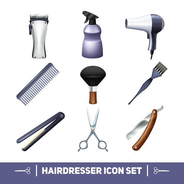 Hairdresser accessories and barber profession equipment icons set Free Vector