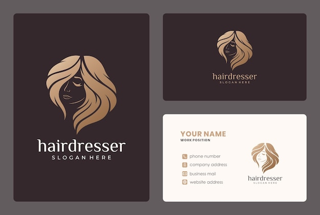 Hairdresser, beauty woman, salon or spa logo design with business crad template. Premium Vector