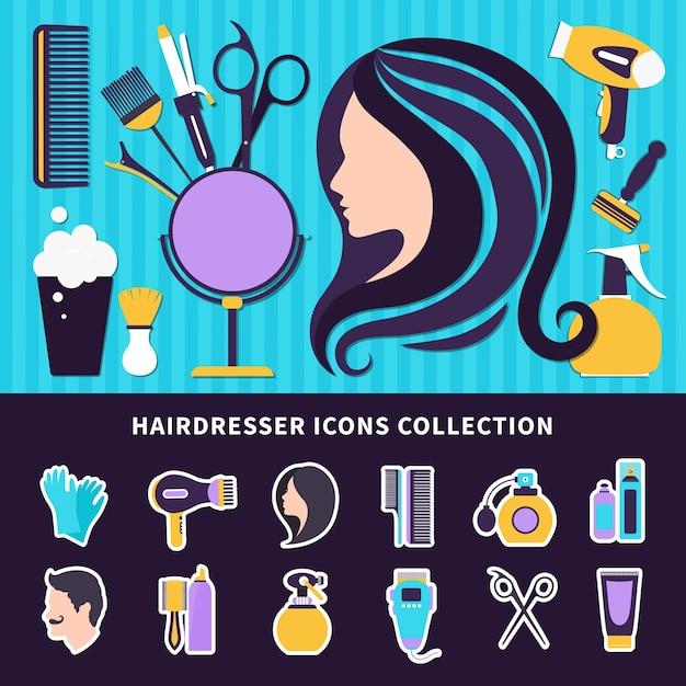 Парикмахерская цветная композиция с элементами стиля и инструментами для парикмахерской и салона красоты Бесплатные векторы