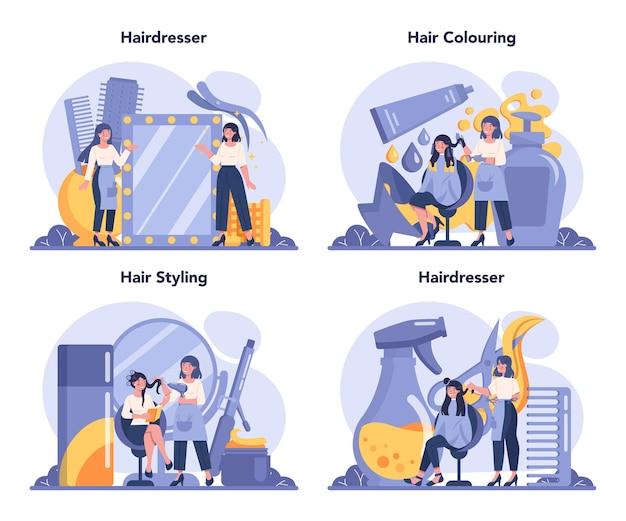 Набор парикмахерских концепции. идея ухода за волосами в салоне. ножницы и щетка, шампунь и процесс стрижки. Premium векторы