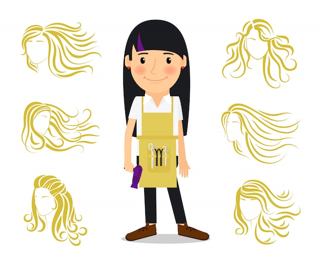 Hairdresser and female hairstyles Premium Vector