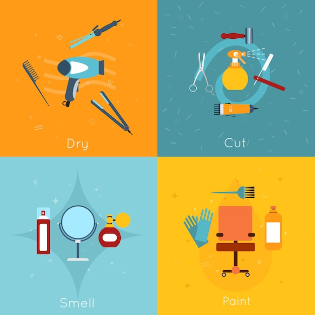 Hairdresser objects composition set flat Free Vector
