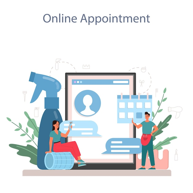 Онлайн-сервис или платформа парикмахера. идея ухода за волосами в салоне. уход за волосами и укладка. онлайн-запись. Premium векторы