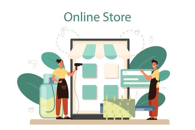 Онлайн-сервис или платформа парикмахера. идея ухода за волосами в салоне. уход за волосами и укладка. онлайн магазин. Premium векторы
