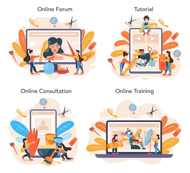 Парикмахерская онлайн-сервис или платформа Premium векторы