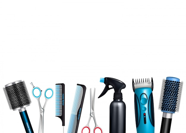 Hairdresser tools background Free Vector