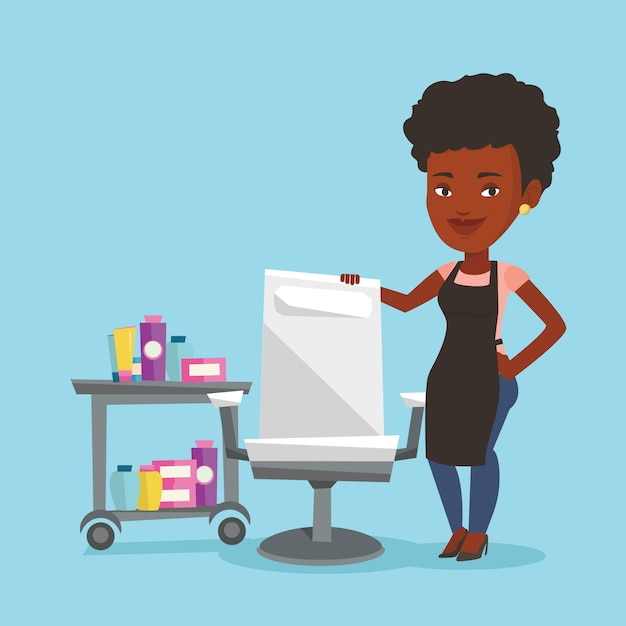 Hairdresser at workplace in beauty saloon. Premium Vector