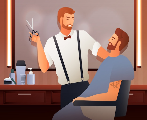 At hairdressers flat composition Free Vector