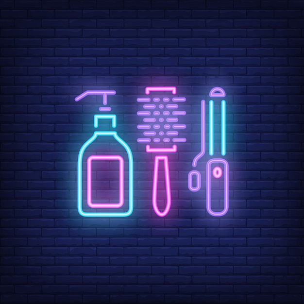 Hairdressing accessories neon sign Free Vector