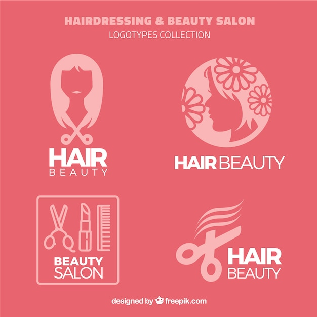 Hairdressing and beauty salon logos Free Vector