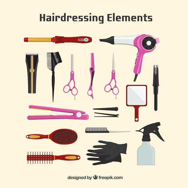 Hairdressing  element collection Free Vector
