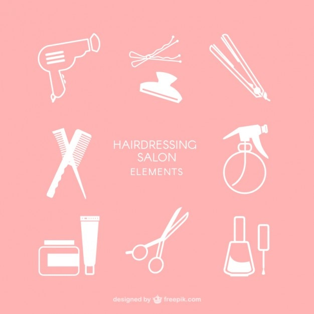 Hairdressing salon elements Free Vector