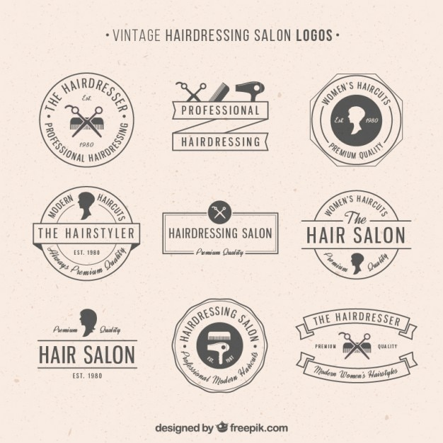 Hairdressing salon logos in vintage style Free Vector