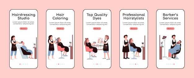 美容院オンボーディングモバイルアプリ画面テンプレート。理髪店サービス。ウォークスルーのウェブサイトでのキャラクターのステップ。 ux、ui、guiスマートフォン漫画インターフェイス、ケースプリントセット Premiumベクター