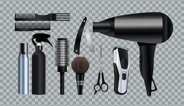 Символы оборудования парикмахерских инструментов на сером фоне иллюстрации Premium векторы