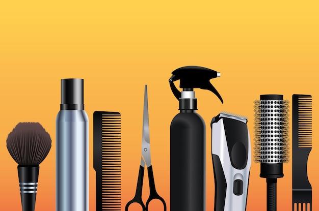 Символы оборудования парикмахерских инструментов на оранжевом фоне иллюстрации Premium векторы