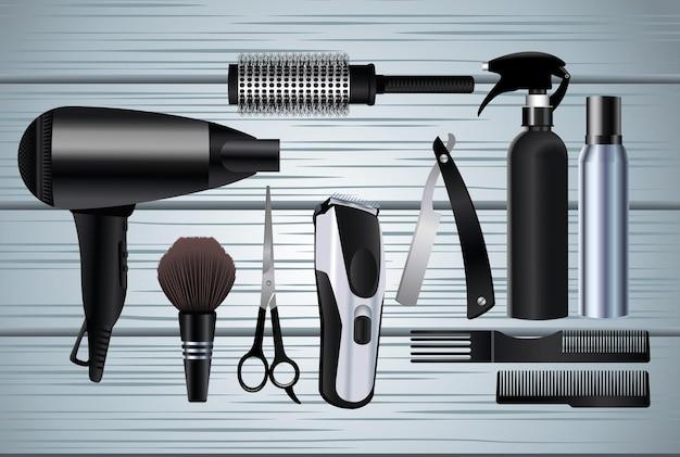 Символы оборудования парикмахерских инструментов на деревянных фоне иллюстрации Premium векторы