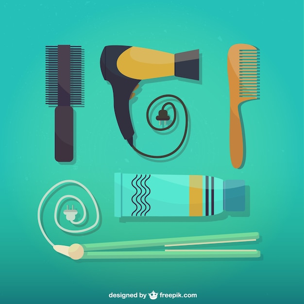 Hairdressing tools Free Vector