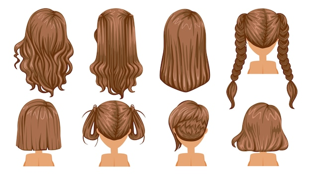 Hairstyle hair of woman. rear view.  modern fashion for assortment. Premium Vector