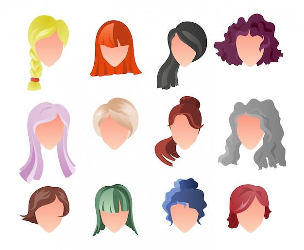 Hairstyle silhouette set Premium Vector