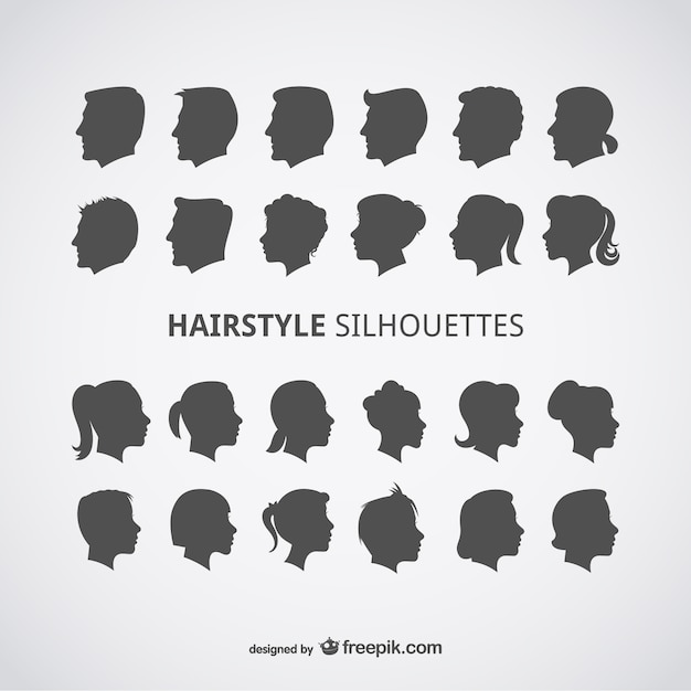 Hairstyle Vector : Hairstyle silhouettes Vector Free Download