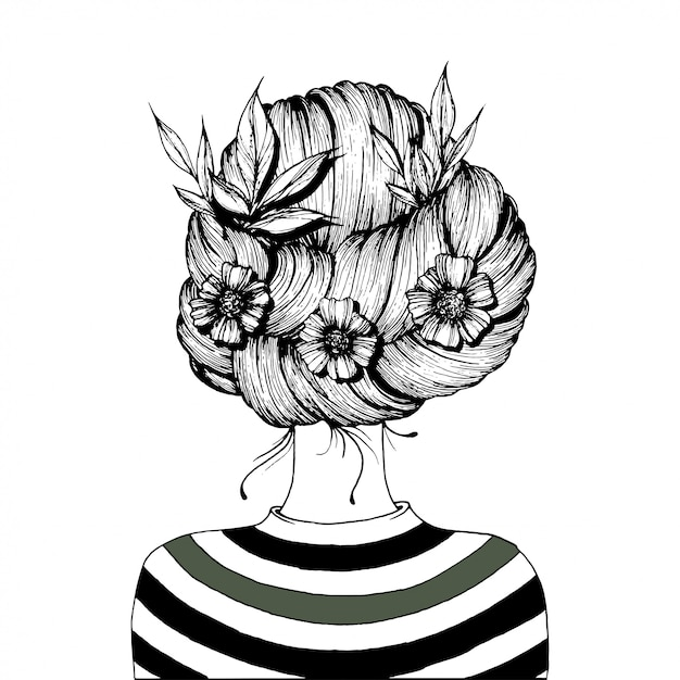 Hairstyle with flowers. Premium Vector