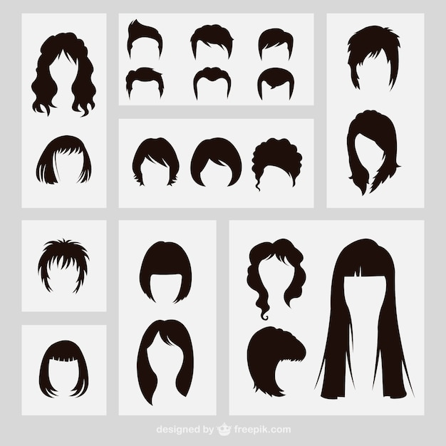 Hairstyles silhouettes Vector | Free Download
