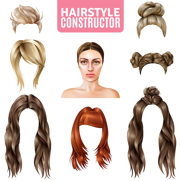 Hairstyles for women constructor Free Vector