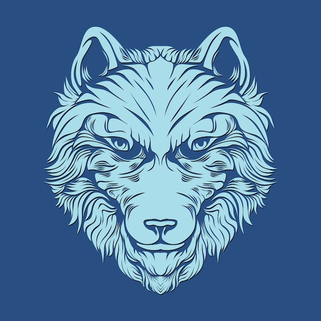 Hairy wolf for decoration Premium Vector