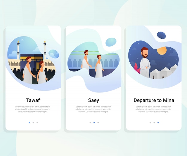 Hajj guide step by step user interface kit Premium Vector