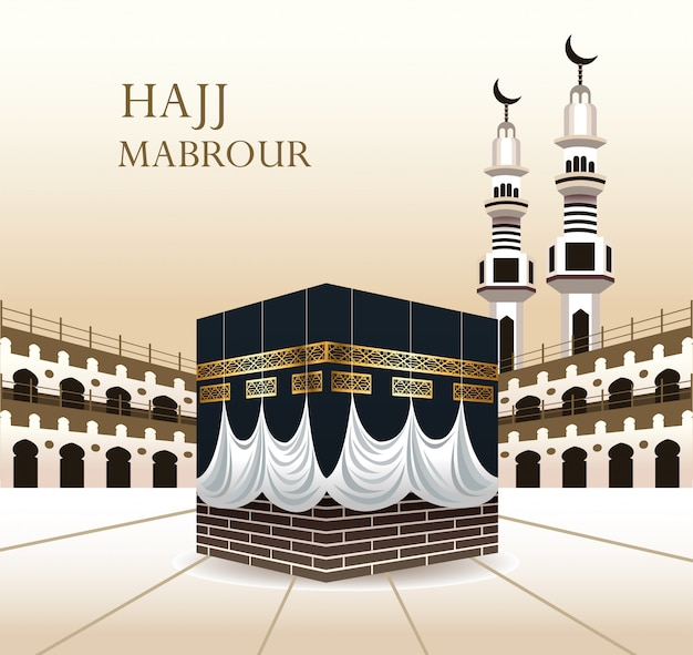 Hajj mabrour celebration with sacred kaaba Premium Vector