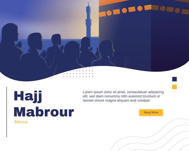 Hajj mabrour landing page template Premium Vector