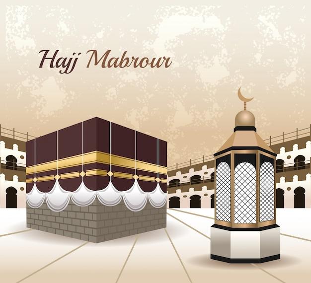 Hajj mabrur celebration with mosque scene Premium Vector
