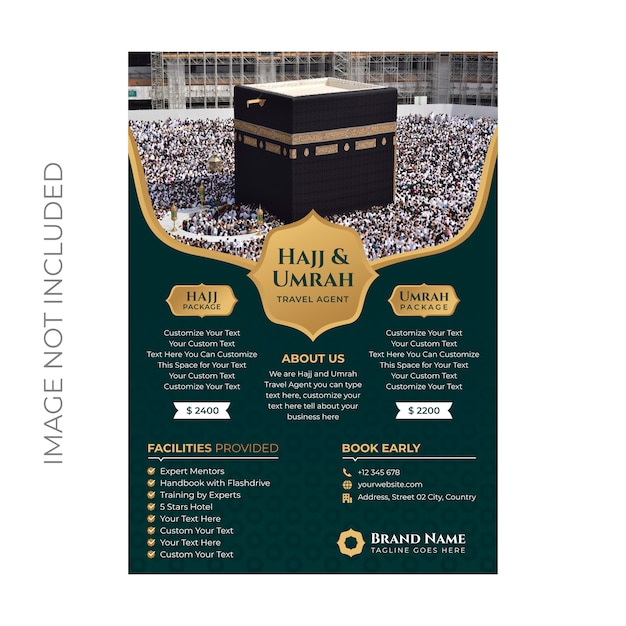 Hajj and umrah flyer template Premium Vector