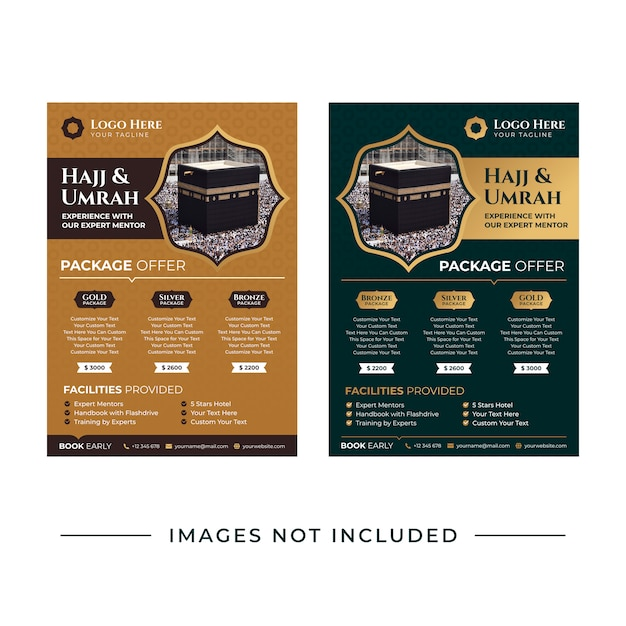 Hajj and umrah flyer template Premium Vector